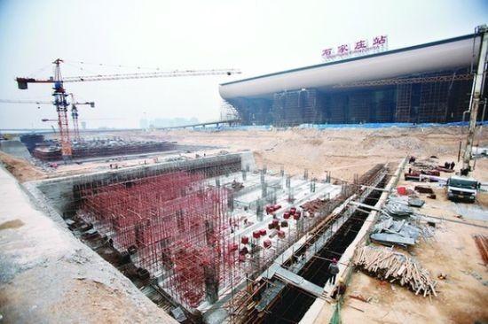 石家庄新火车站东广场地铁3号线地基见雏形-南宁轨道